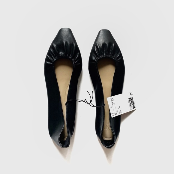 H&M Pointed Toe Faux Leather Ballet Flats